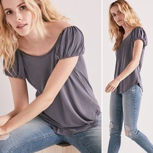 Lucky Brand grey/blue puff sleeved top